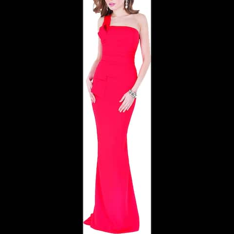 Terani Couture Women's Gathered One Shoulder Full Length Trumpet Gown - Red