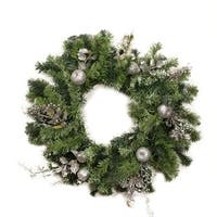 "24"" Pre-Decorated Silver Fruit, Holly Berry and Leaf Artificial Christmas Wreath - Unlit"