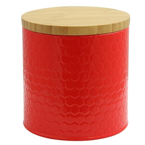 General Store Hollydale Embossed Canister with Bamboo Lid in Red