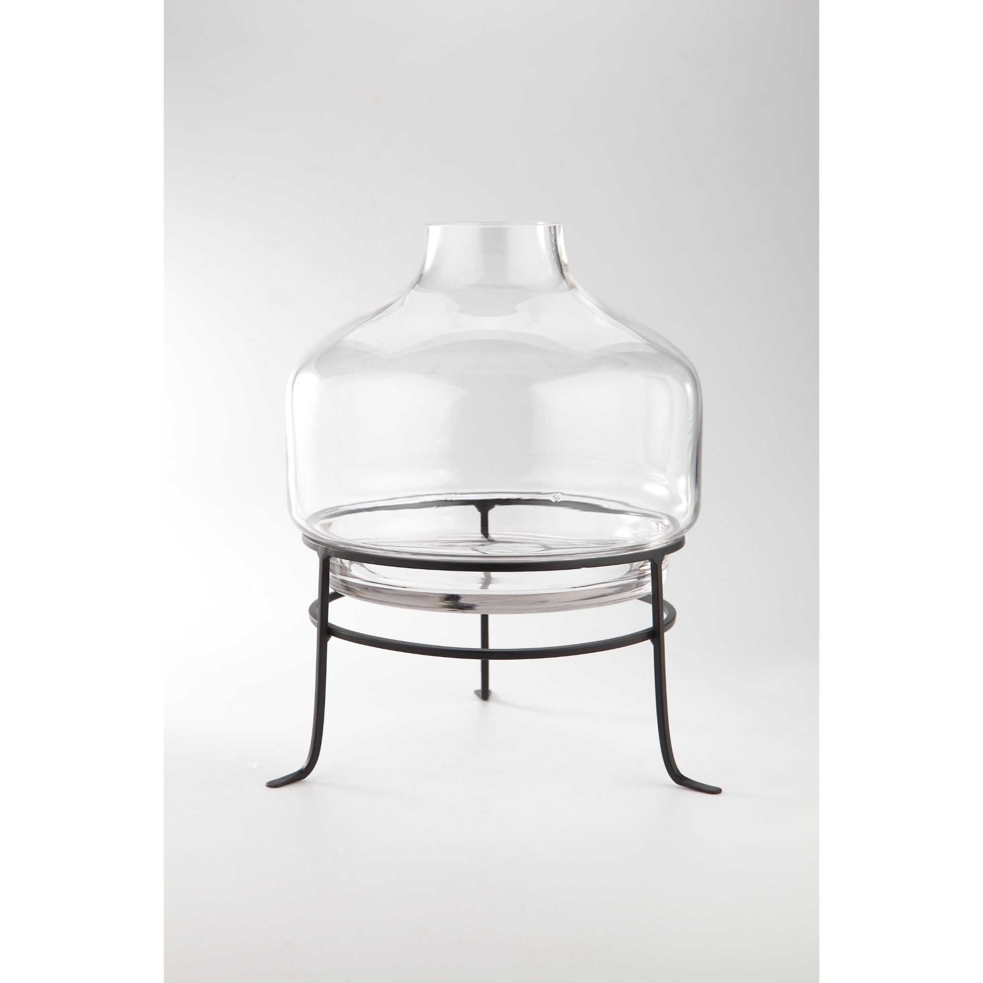 Shop 14 Clear And Black Hand Blown Glass Floral Bud Vase With Stand Overstock 28683339
