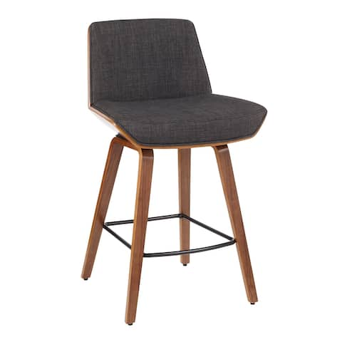 Corazza Mid-century Modern Upholstered Wood Counter Stool