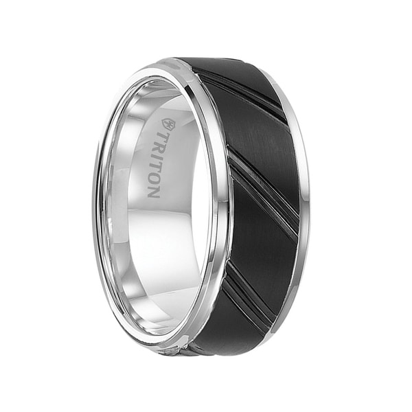 KINGSLEY Black and White Tungsten Carbide Ring with Beveled Step Edges and Diagonal Cuts by Triton Rings - 9 mm