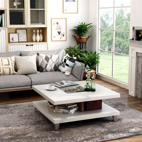 Furniture of America Sele Contemporary White Storage Coffee Table