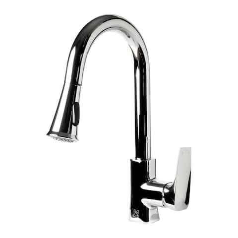 Polished Chrome Square Gooseneck Pull Down Kitchen Faucet