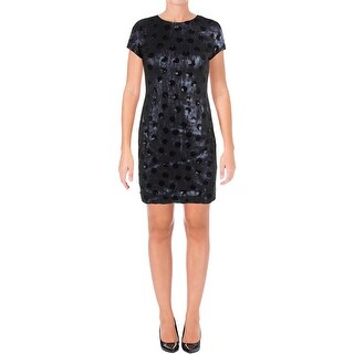 Lauren Ralph Lauren Womens Petites Cocktail Dress Sequined Polka Dot