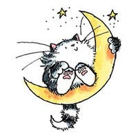 """Cat On The Moon - Penny Black Mounted Rubber Stamp 2.5""""X3"""""""