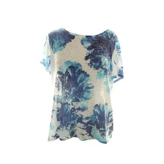 Inc International Concepts Plus Size White Floral-Print Tee X