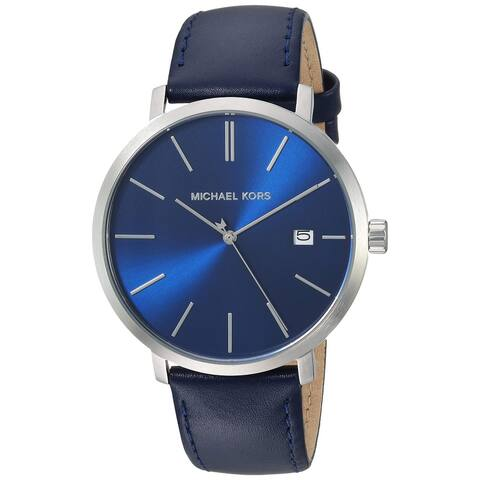 Michael Kors Men's Blake Quartz Blue Dial Blue Leather Watch