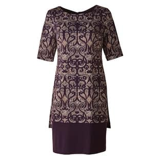 "Women's Plum Overprinted Dress Elbow Length Sleeves - 38"" Long -Plus