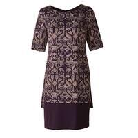 "Women's Plum Overprinted Dress Elbow Length Sleeves - 38"" Long -Plus"