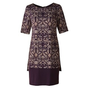 "Women's Plum Overprinted Dress Elbow Length Sleeves - 38"" Long"