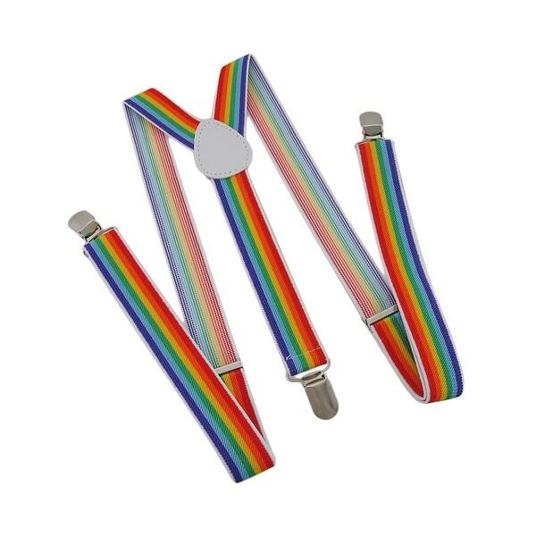 Vertical Rainbow Striped Elastic Suspenders Braces