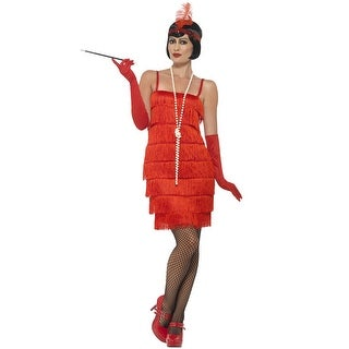 Smiffy Short Flapper Dress Adult Costume (Red) - Red