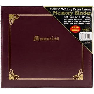 "Pioneer 3-Ring Sewn Cover Album 12""X12""-Burgundy Italian"