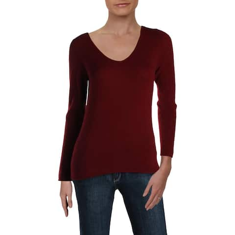 Sutton Studio Womens Pullover Sweater Cashmere V-Neck - Burgundy Red - S