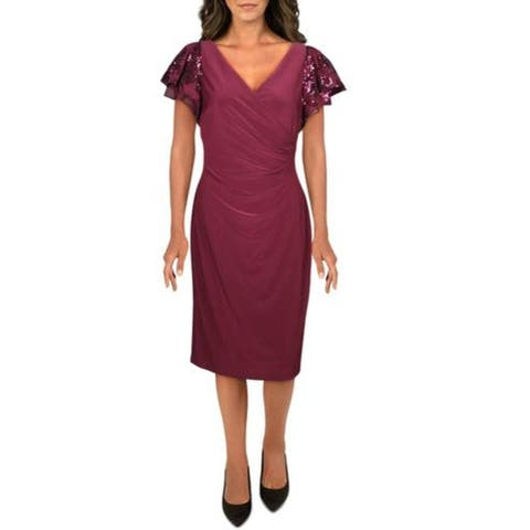 Lauren Ralph Lauren Womens Cocktail Dress Faux Wrap Sequined - Red