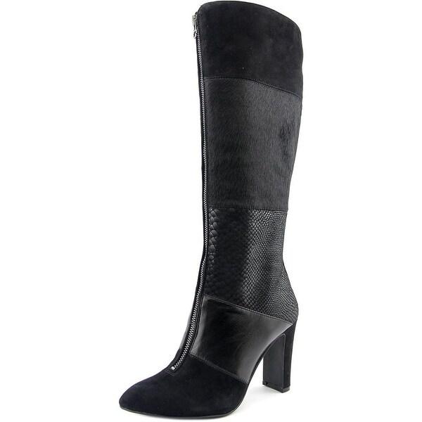 Anne Klein AK Jamielee Women Round Toe Leather Black Knee High Boot
