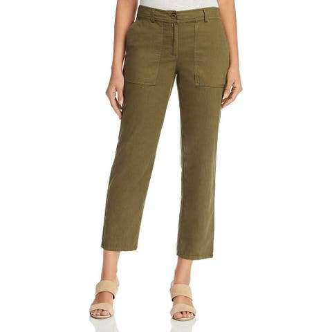Eileen Fisher Women's Pants Green Size 10X27 Slouchy Ankle Cropped