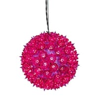 "7.5"" Fuchsia Lighted Hanging Star Sphere Christmas Decoration - PURPLE"