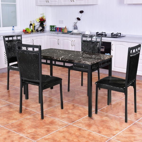 shop costway 5 pc dining set faux marble table and pu