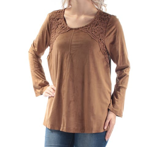 STYLE & CO Womens Brown Faux Suede Crochet Long Sleeve Jewel Neck Top Size: S