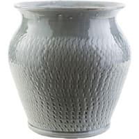 """11.8"""" Textured Fiesta Gray Indoor/Outdoor Decorative Ceramic Planter"""