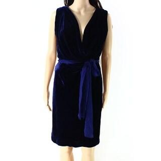 BCBG Maxaria NEW Navy Blue Womens Size 0 Stretch Velvet Sheath Dress