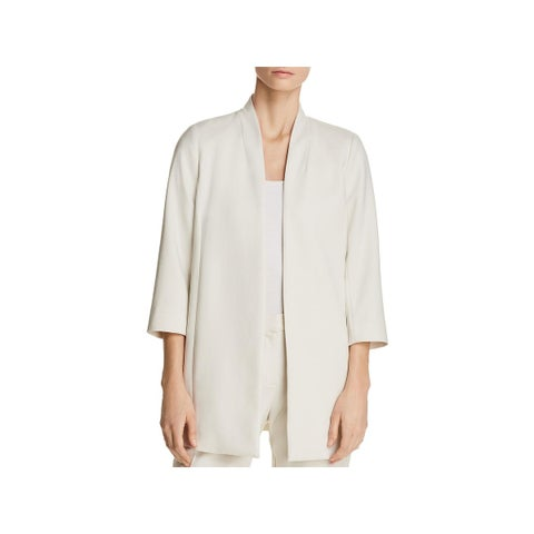 Eileen Fisher Womens Petites Open-Front Blazer Tencel Open Front