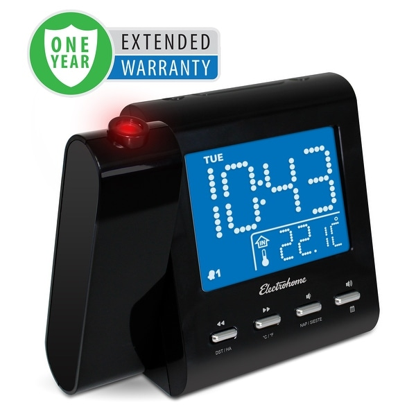 Electrohome Projection Alarm Clock with AM/FM Radio, Battery Backup & Auto Time Set - 1 Year Extended Warranty