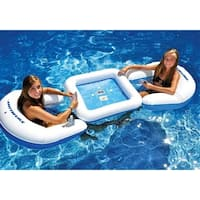 3-Piece Water Sport Floating Game Deck and Chairs with Waterproof Playing Cards - Blue