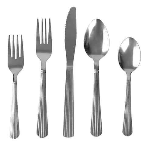 Home Basics Danbury 20 Pieces Stainless Steel Flatware Set, Silver