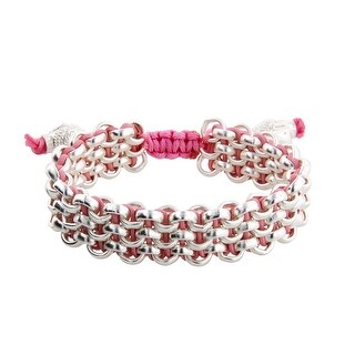 Links Women's Pink Three Row Link Bracelet in Sterling Silver Plate - White