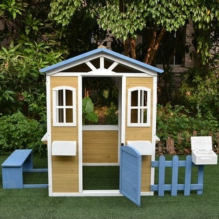 Link to ALEKO Traditional Outdoor Wooden Playhouse with Door, Windows, Serving Station Similar Items in Outdoor Play