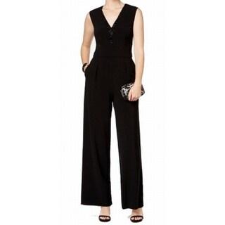 Vince Camuto NEW Black Women's Size 12 Wide Leg Sequin Trim Jumpsuit
