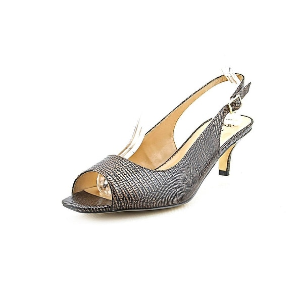 J. Renee Classie Women Peep-Toe Synthetic Brown Slingback Heel