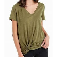 Soprano Olive Green Womens Size Small S Knot-Detail V-Neck Knit Top