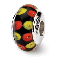 Sterling Silver Reflections Red/Black Hand-blown Glass Bead (4mm Diameter Hole)