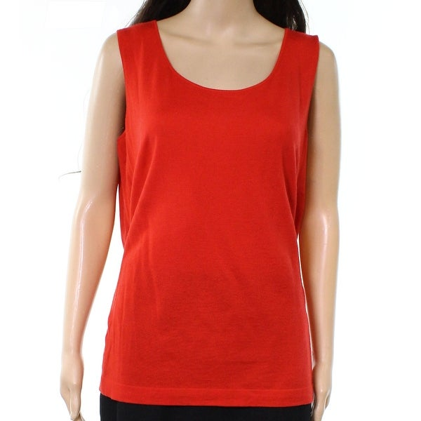 dba20b766ddc4c Shop Lafayette 148 York Red Womens Size XL Scoop Neck Tank Top ...