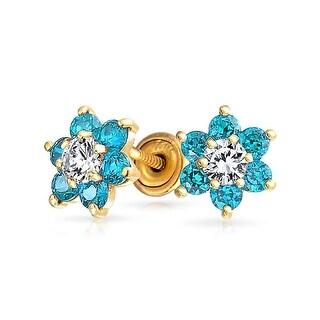 Link to CZ Flower Stud Earrings Imitation Gemstone 14K Real Gold Screwback Similar Items in Body Jewelry Shop