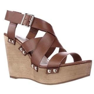 Fergalicious Libby Studded Platform Wedge Strappy Sandals - Tan