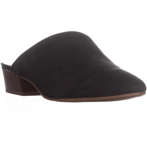 Franco Sarto Ann Pointed Toe Slip On Sandals, Black Leather