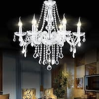 Costway Elegant Crystal Chandelier Modern 6 Ceiling Light Lamp Pendant Fixture Lighting - Transparent
