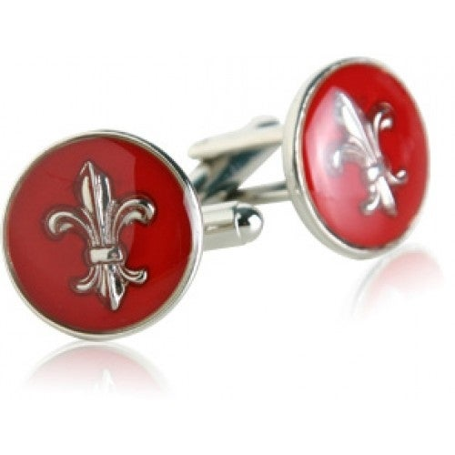 Red Fleur De Lis French Cufflinks