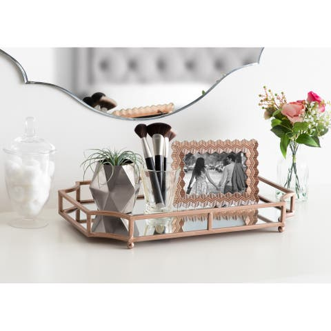 Kate and Laurel Ciel Mirrored Decorative Tray - 19x13x3