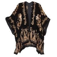 Women's Fashion Top - Black/Gold Burnout Velvet Kimono