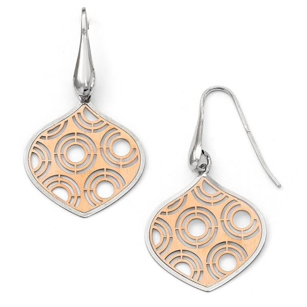 Italian Sterling Silver Rhodium-plated White & Rose Plated Earrings