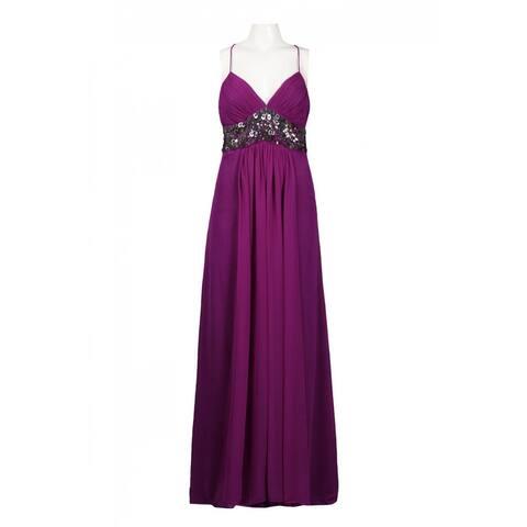 JS Collections Embellished Empire Waist Criss Cross Back Dress, Violet, 12