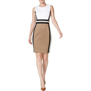 Calvin Klein Womens Wear to Work Dress Colorblock Sleeveless (Option: 6 - Taupe/Cream)