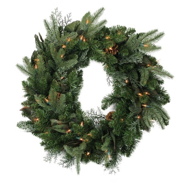"""24"""" Pre-Lit Mixed Winter Foliage and Pine Cones Artificial Christmas Wreath - Clear Lights"""