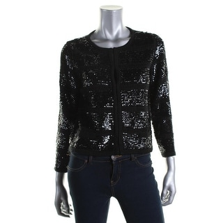 Catherine Malandrino Womens Sequined 3/4 Sleeves Cardigan Sweater